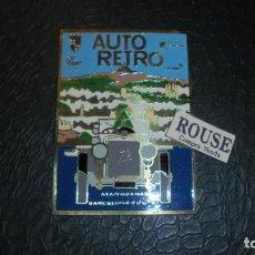 Coches y Motocicletas: ANTIGUA PLACA AUTO RETRO BARCELONA , ATARAZANAS 4-9-XII - 87 CAMPA REPSOL DERBI 10X7 CM. PERFECTO . Lote 134370822