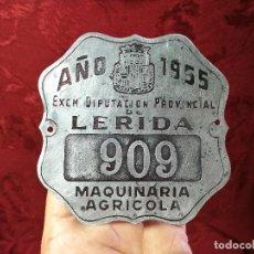Coches y Motocicletas: PLACA MATRICULA CARRO AÑO 1955 MAQUINARIA AGRICOLA LERIDA. Lote 140983709