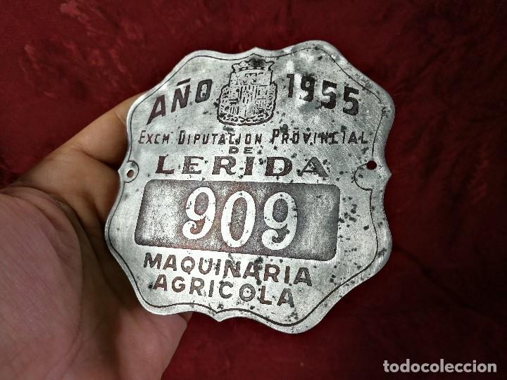 Coches y Motocicletas: PLACA MATRICULA CARRO AÑO 1955 MAQUINARIA AGRICOLA LERIDA - Foto 2 - 140983709