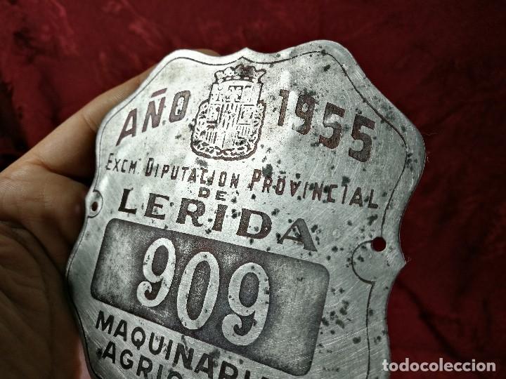 Coches y Motocicletas: PLACA MATRICULA CARRO AÑO 1955 MAQUINARIA AGRICOLA LERIDA - Foto 4 - 140983709