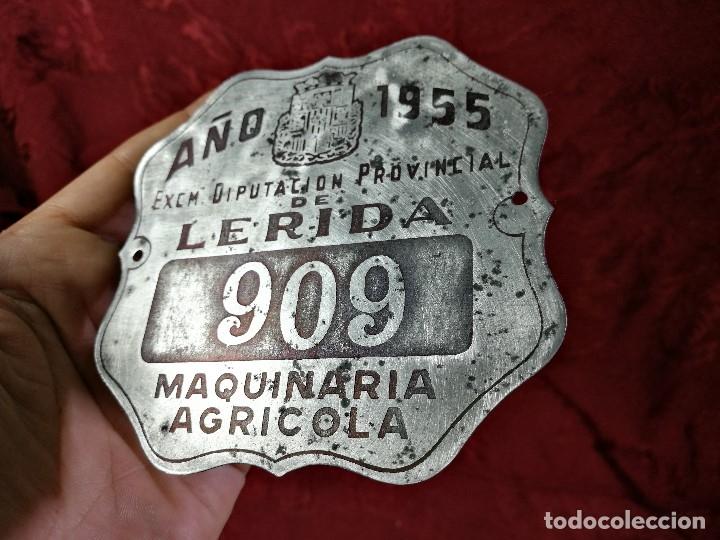 Coches y Motocicletas: PLACA MATRICULA CARRO AÑO 1955 MAQUINARIA AGRICOLA LERIDA - Foto 5 - 140983709