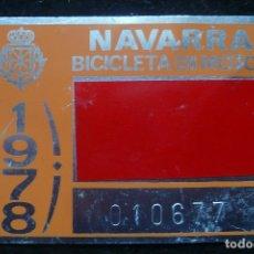 Coches y Motocicletas: CHAPA /PLACA IDENTIFICATIVA-BICICLETA CON MOTOR (NAVARRA, 1978). Lote 142692530