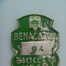 Coches y Motocicletas: PLACA DE BICICLETA DE 1969. AYUNTAMIENTO DE BENACAZON ( SEVILLA ), AGUILA SAN JUAN DE FRANCO.. Lote 142743474