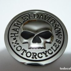Coches y Motocicletas: PARCHE HARLEY DAVIDSON MOTORCYCLES CROMADO ALTA CALIDAD RESISTE INTEMPERIE. CALAVERA. Lote 210185797