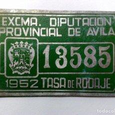 Coches y Motocicletas: CHAPA MATRICULA TASA DE RODAJE,AÑO 1952 DE AVILA (9,7CM. X 6,5CM.). Lote 151585186