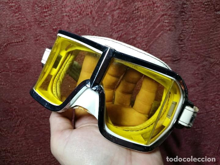 Coches y Motocicletas: gafas motorista motociclismo piloto climax AÑOS 60-70 .BLANCAS Y CRISTAL AMARILLO.MODEL .520..raro ! - Foto 2 - 151688502