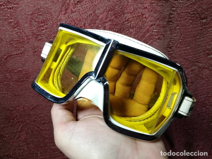 Coches y Motocicletas: gafas motorista motociclismo piloto climax AÑOS 60-70 .BLANCAS Y CRISTAL AMARILLO.MODEL .520..raro ! - Foto 3 - 151688502
