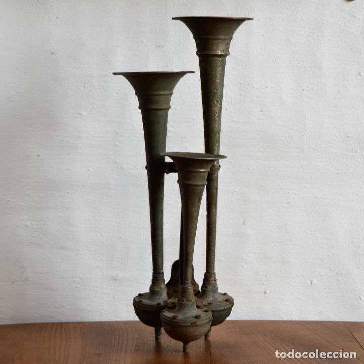 TRIPLE BOCINA ASPIRACIÓN MODELO G103 FABRICADO POR JOSÉ ARTÉS DE ARCOS * CLAXON * 46CM (Coches y Motocicletas - Repuestos y Piezas (antiguos y clásicos))