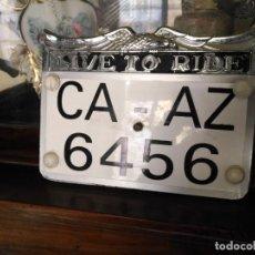 Coches y Motocicletas: ANTIGUA MATRICULA ORIGINAL DE MOTO MOTOCICLETA HARLEY DAVIDSON - CADIZ - DE LA BASE NAVAL DE ROTA . . Lote 155580826