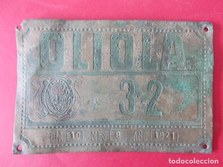 ANTIGUA MATRICULA DE CARRUAJE , CARRO - OLIOLA ( LLEIDA , LERIDA ) - AÑO 1921 - .. A1450 (Coches y Motocicletas - Repuestos y Piezas (antiguos y clásicos))