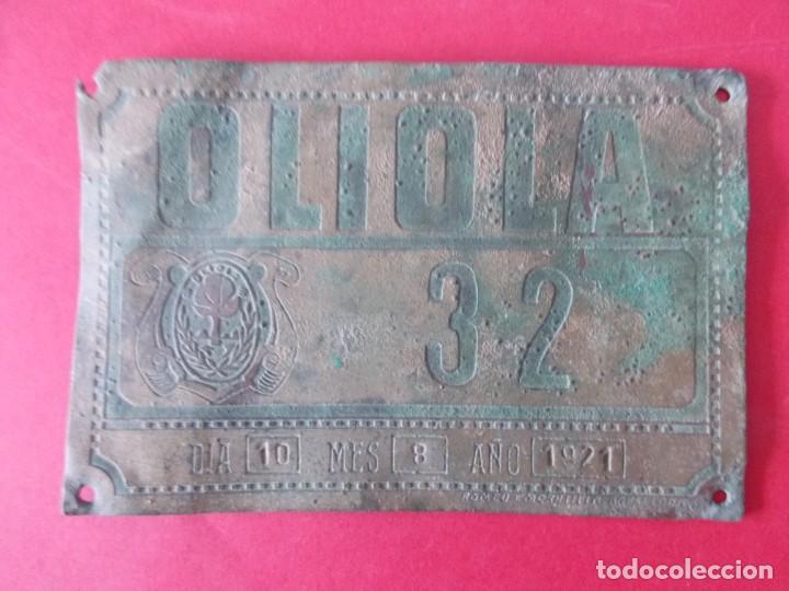 Coches y Motocicletas: ANTIGUA MATRICULA DE CARRUAJE , CARRO - OLIOLA ( LLEIDA , LERIDA ) - AÑO 1921 - .. A1450 - Foto 3 - 160597330