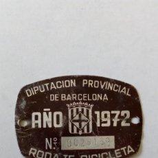 Coches y Motocicletas: PLACA BICICLETA AÑO 1972 BARCELONA . Lote 161768766