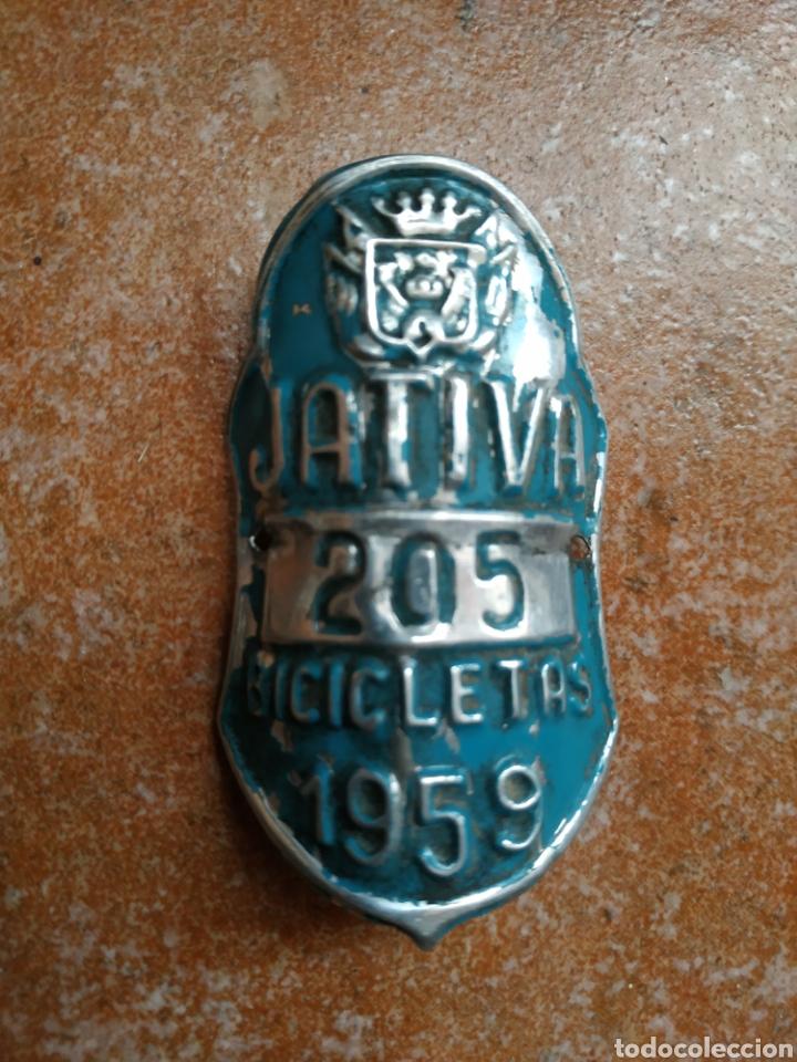 MATRÍCULA CHAPA BICICLETAS JATIVA 1959 (Coches y Motocicletas - Repuestos y Piezas (antiguos y clásicos))