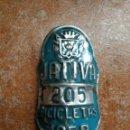 Coches y Motocicletas: MATRÍCULA CHAPA BICICLETAS JATIVA 1959. Lote 165732058