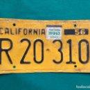 Coches y Motocicletas: CALIFORNIA 1956 , ANTIGUA Y ORIGINAL PLACA DE MATRÍCULA , LICENSE PLATE USA VINTAGE . Lote 168594712