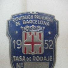 Coches y Motocicletas: ANTIGUA TASA DE RODAJE - MATRICULA DE BICICLETA - DIPUTACIÓN PROVINCIAL DE BARCELONA - AÑO 1952. Lote 171473998