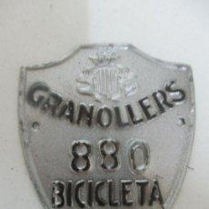 Coches y Motocicletas: ANTIGUA PLACA, MATRICULA DE BICICLETA - GRANOLLERS - AÑO 1952. Lote 171503890