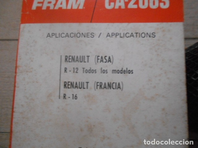Coches y Motocicletas: FILTRO AIRE RENAULT 12 TODOS , RENAULT 16 ( FRANCIA ) - Foto 2 - 175561680