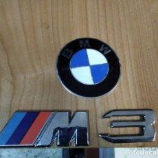 Coches y Motocicletas: 3 PIEZAS 1 ANAGRAMA LOGO REDONDO CHAPA BMW Y M3 PLÁSTICO QUE CONSTA BANDERA Y LETRA M Y NÚMERO 3. Lote 177412995