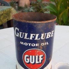 Coches y Motocicletas: LATA DE ACEITE LUBRICANTE COCHES GULFLUBE MOTOR OIL GULF. Lote 178812300