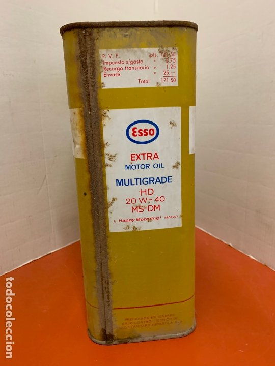 Coches y Motocicletas: Antigua lata de aceite para automovil. ESSO EXTRA MOTOR OIL. Mide aprox 25cms altura - Foto 3 - 182676257