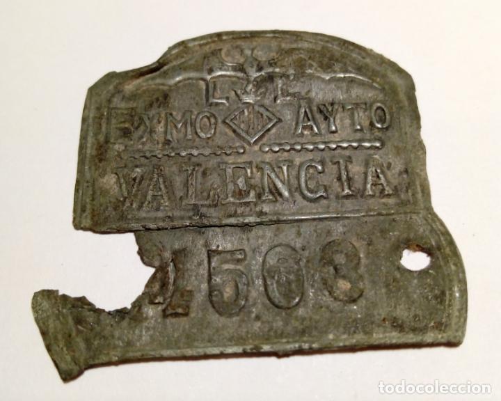 ANTIGUA PLACA DE MATRICULA DE BICICLETA O CARRO - EXMO AYTO VALENCIA (Coches y Motocicletas - Repuestos y Piezas (antiguos y clásicos))