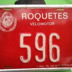 Coches y Motocicletas: CHAPA DE ARBITRIO VELOMOTOR , ROQUETAS , TARRAGONA. Lote 184840761