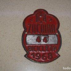 Coches y Motocicletas: PLACA DE BICICLETA DE ZUCAINA 1968. Lote 184888153