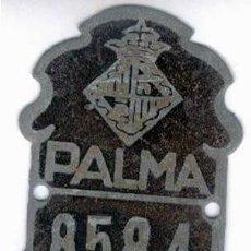 Coches y Motocicletas: CHAPA PLACA BICICLETA 1942 PALMA DE MALLORCA CYCLES. Lote 202821132