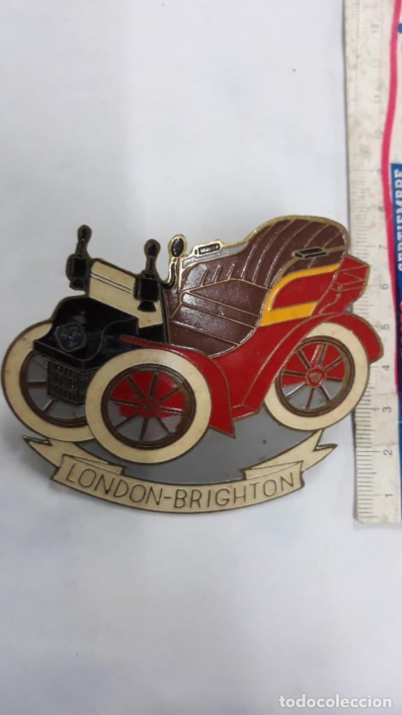 CHAPA ANTIGUA DE COCHE LONDON BRIGHTON (CARRERA DE COCHES ANTIGUOS DE ÉPOCA) (Coches y Motocicletas - Repuestos y Piezas (antiguos y clásicos))