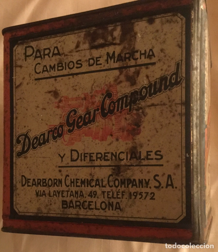Coches y Motocicletas: ANTIGUA LATA DEARBORN CHEMICAL COMPANY S. A. DEARCO MOTOR OIL LUBRICANTE CIENTIFICO AÑOS 30 RAREZA - Foto 4 - 210308417