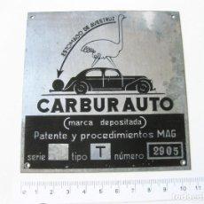 Coches y Motocicletas: PLACA IDENTIFICATIVA DE GASÓGENO CARBURAUTO. TIPO T. NÚMERO 2905.. Lote 222152695