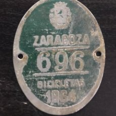 Coches y Motocicletas: MATRICULA CHAPA BICICLETA 1964 ZARAGOZA. Lote 227091910