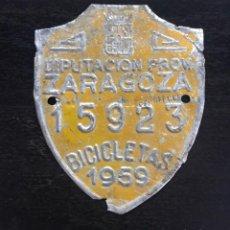 Coches y Motocicletas: MATRICULA CHAPA BICICLETA 1959 ZARAGOZA. Lote 227104445