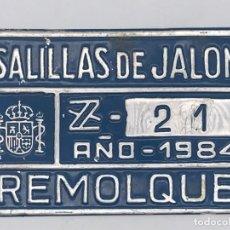 Coches y Motocicletas: ANTIGUA MATRICULA DE REMOLQUE SALILLAS DE JALON - ZARAGOZA. Lote 247677355