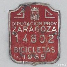 Coches y Motocicletas: ANTIGUA MATRICULA CHAPA BICICLETA - ZARAGOZA - 1965. Lote 247684635