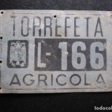 Carros e motociclos: MATRICULA AGRICOLA TORREFETA - LERIDA - AÑOS 60. Lote 253632940