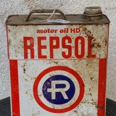 Carros e motociclos: LATA ACEITE COCHE REPSOL MOTOR OIL HD 5 LITROS 25X22X10CMS. Lote 267811849