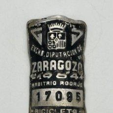 Coches y Motocicletas: MATRICULA CHAPA BICICLETA 1964 ZARAGOZA. Lote 269011549