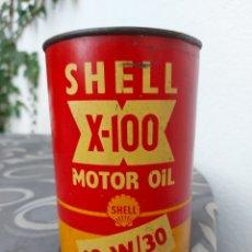 Coches y Motocicletas: LATA ACEITE SHELL MOTOR SHELL. X 100. AÑOS 60. LLENA. 15X10 CMS. Lote 278403848