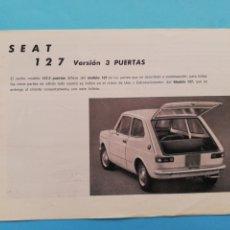 Coches y Motocicletas: SUPLEMENTO CATÁLOGO MANUAL SEAT 127 VERSIÓN 3 PUEETAS. Lote 289456553