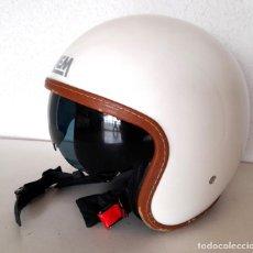 Coches y Motocicletas: CASCO PARA MOTO COLOR BLANCO BRILLO MARCA LEM TALLA M 57/58 CON VISERA NEGRA QUE FUNCIONA BIEN. Lote 289490163
