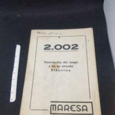 Pièces détachées et composants: DOCUMENTACIÓN PINBALL 2002 CASA MARESA. Lote 204990203