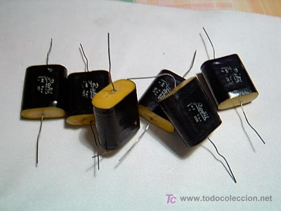 LOTE 5 CONDENSADORES PARA CIRCUITOS RADIO- PAPEL ESTAÑO - 1 MICROF. 500V SIN USO PREVIO + INFO (Radios, Gramófonos, Grabadoras y Otros - Repuestos y Lámparas a Válvulas)