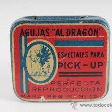 Radios antiguas: CAJA DE AGUJAS PARA GRAMOFONO AL DRAGON. Lote 24353777