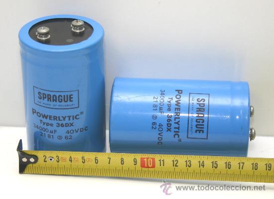 2 CONDENSADORES ELECTROLITICOS SPRAGUE 34000 MF 40 VDC TESTADOS (Radios, Gramófonos, Grabadoras y Otros - Repuestos y Lámparas a Válvulas)