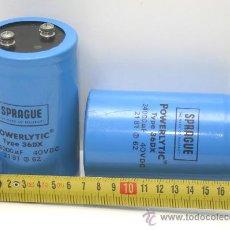 Radios antiguas: 2 CONDENSADORES ELECTROLITICOS SPRAGUE 34000 MF 40 VDC TESTADOS. Lote 31422216