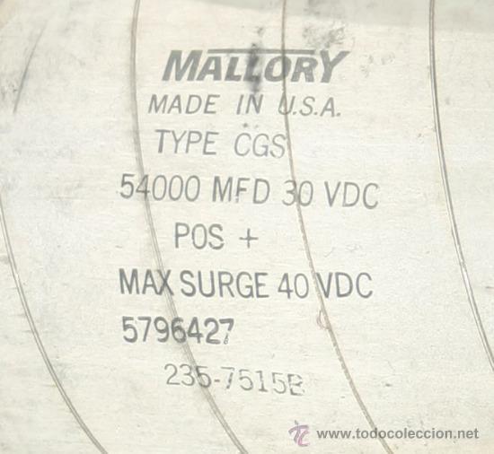 Radios antiguas: CONDENSADOR ELECTROLITICO 54000 MF 40 VDC testado - Foto 2 - 31466217