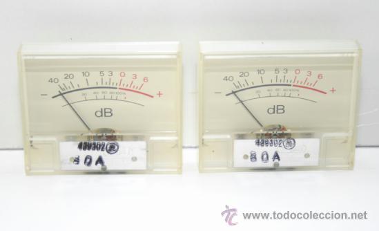 VU METER INSTRUMENTOS DE PANEL DB CON LUZ INTERIOR-DOS UNIDADES (Radios, Gramófonos, Grabadoras y Otros - Repuestos y Lámparas a Válvulas)