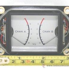 Radios antiguas: VU METER INSTRUMENTO DE PANEL DOBLE TEAC 58116 VINTAGE CON LUZ INTERIOR TESTADO. Lote 37363093